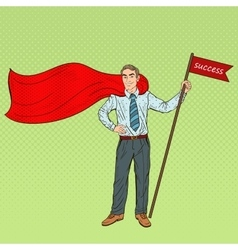 Pop Art Super Businessman with Success Flag vector