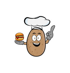 Potato cartoon character with a burger and a chef vector