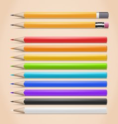 Realistic Colorful Pencils Set vector image