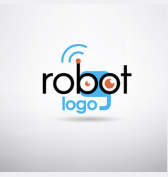 Robot logo template vector