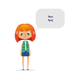 Sad or upset redhead teenage girl scout wearing vector