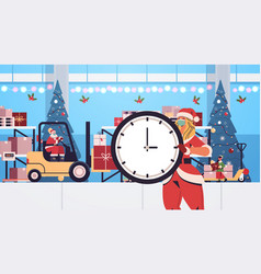 Santa claus with elf and santa woman preparing vector