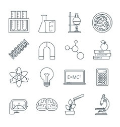 Science icons outlined icons set vector