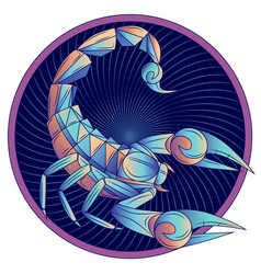 Scorpio zodiac sign horoscope symbol blue vector