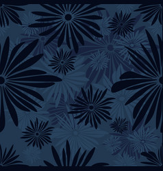 Seamless floral pattern with dark and light blue vector