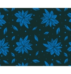 Seamless pattern with blue lotus and with dark vector image