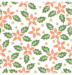 Seamless pattern with red and green christmas vector