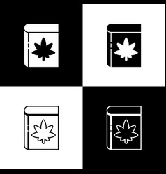 set book and marijuana or cannabis leaf icon vector image
