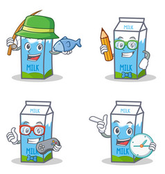 set of milk box character with fishing student vector image