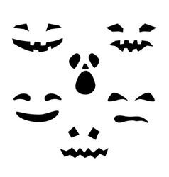 Silhouette of scary smug smiles for pumpkin vector