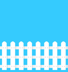 simple white fence garden on blue background vector image