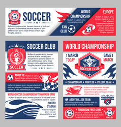 Soccer match banner with football sport club badge vector