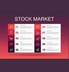 Stock market infographic 10 option template vector