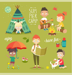 summer camp kids set enjoying nature playing and vector image