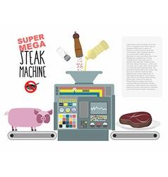 Super mega steak machine Manufacturing system for vector image