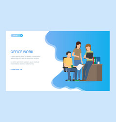 teamwork with laptop and documents office vector image