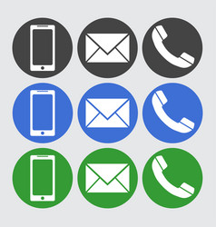 Telephone sms icons flat vector