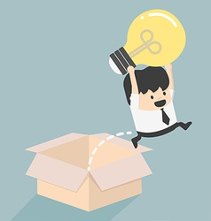 Think outside box concept to success vector