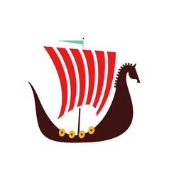 viking boat flat on white vector image