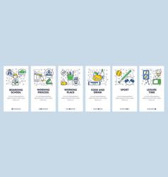 web site onboarding screens boarding school icons vector image