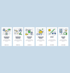 Web site onboarding screens boarding shcool icons vector