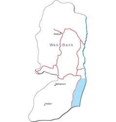 West Bank Black White Map With Major Cities vector image