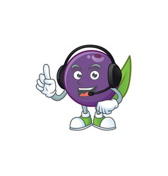 With headphone acai berries character for fresh vector