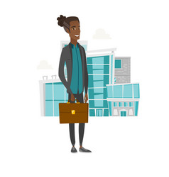 Young african businessman holding briefcase vector