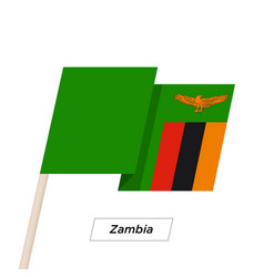 Zambia ribbon waving flag isolated on white vector