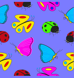 cartoon seamless texture units insects vector image vector image