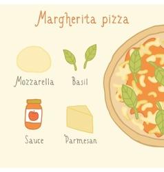 Margherita pizza ingredients vector image vector image