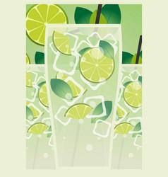 mojito poster fresh mojito with lime and green vector image