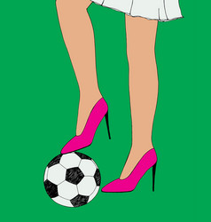 pretty young slim girl holds soccer ball under vector image