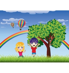 Boy and Girl on Lawn4 vector image vector image