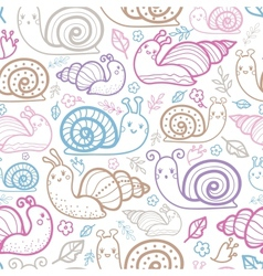 Cute smiling snails seamless pattern background vector image vector image