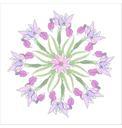 Ornamental round with color irises vector image vector image