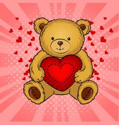 teddy bear toy with heart pop art vector image