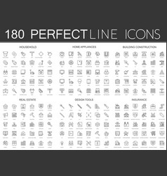 180 modern thin line icons set of household home vector image vector image