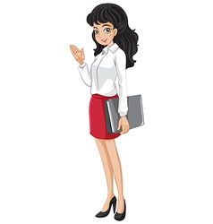 An office girl holding a binder vector image vector image