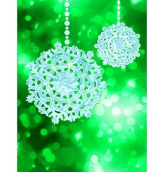 Green snowflake over bokeh EPS 8 vector image