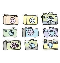 Hand Drawn Set of Cameras vector image