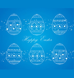 happy easter eggs white on a blue easter banner vector image