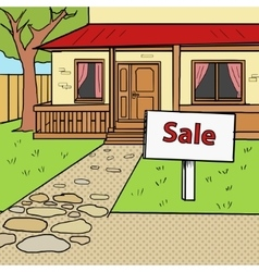 House for sale pop art style vector image
