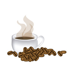 image color with hot cup of coffee and coffee vector image vector image