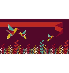 Origami hummingbird group banner vector image vector image