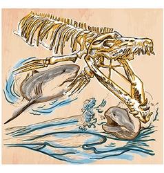 Underwater Prehistory - An hand drawn vector image