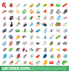 100 cyber icons set isometric 3d style vector image