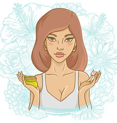Beautiful young woman with a face cream vector image vector image