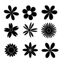 black flowers icon set vector image vector image