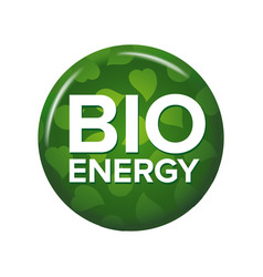 bright green round button with words bio energy vector image